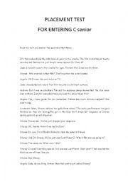 Placement test for entering C senior