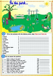 English Worksheet: In the park