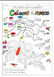 English Worksheet: COLOURS AND NUMBERS