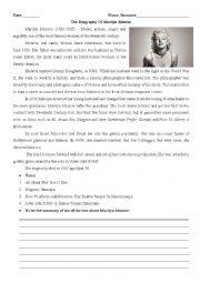 English Worksheet: Marilyn Monroe- Biography
