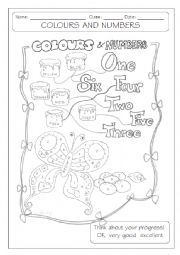 English Worksheets: colours and numbers - b&w