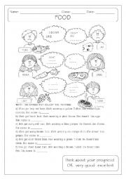 English Worksheet: I DON�T LIKE + FOOD