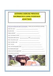 English worksheet: Listening Personal Information