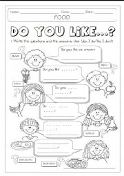 English Worksheet: DO YOU LIKE + FOOD  1/2