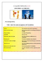 English Worksheet: John Legend - All Of Me (2013) (Listening Activity about Relationship+Vocabulary Building)