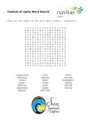 Word Search - Diwali Deepavali Festival of Lights vocab