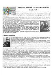 English Worksheet: Oppenheimer and Fermi