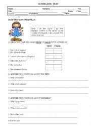English Worksheet: TEST, 5TH. GRADE, 1st. part