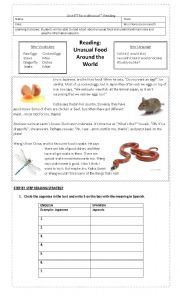 English Worksheet: Reading Unusual Food Around the World