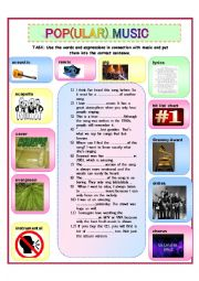 English Worksheet: Pop(ular) Music Words & Expressions (Vocabulary Building)