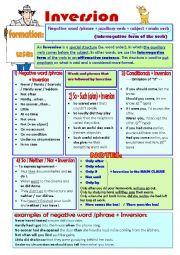 English Worksheet: --INVERSION--