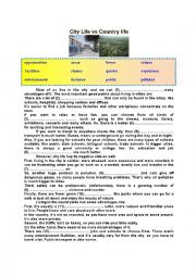 English Worksheet: City Life vs Country Life (Topic Elaboration for Pre/Intermediate Students)