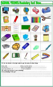 English Worksheet: School things :vocabulary test