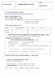 English Worksheet: Mid-term test 1/4th form