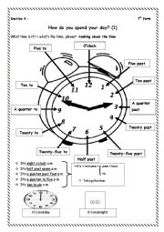 English Worksheet: How do you spend your day ? 7th form