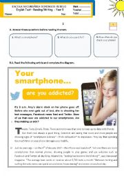 English Worksheet: Your smartphone...  are you addicted?  - reading/writing test for year 9 (level B1-)