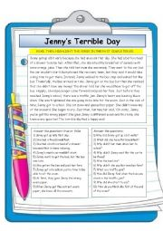 English worksheet: Jenny´s Terrible Day