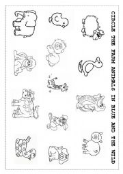 English Worksheet: Wild and farm animals