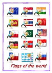 English Worksheet: FLAGS OF THE WORLD