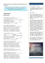 English Worksheet: Song: Radioactive by Imagine Dragons