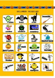 Halloween bingo and vocabulary