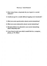 English Worksheet: Warm up exercise about Social Networks