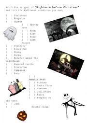 English Worksheet: This is Halloween - Nightmare before Christmas
