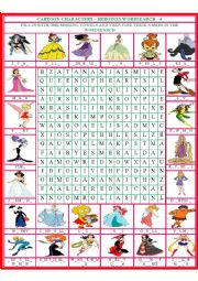 English Worksheet: Cartoon Characters - Heroines Wordsearch 4