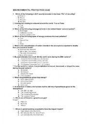 english worksheets environment protection quiz. Black Bedroom Furniture Sets. Home Design Ideas