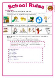 English Worksheet: 9th form module 2 lesson 2 School Rules