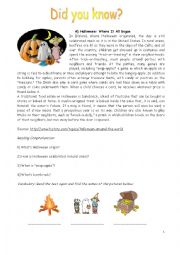 English Worksheet: Halloween and Jack-�O-Lantern