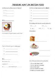 English Worksheet: Food treasure hunt