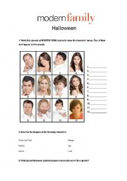 English Worksheet: Modern Family Halloween