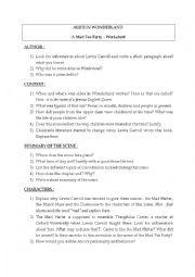 English Worksheet: Worksheet Mad Tea Party, Alice in Wonderland