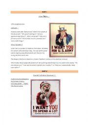 English Worksheet: Uncle Sam (satirical document)