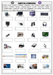 English Worksheet: Parts of a computer