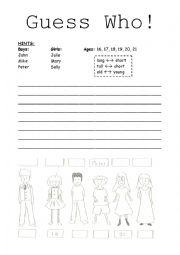 English Worksheet: Comparative Adjectives- Guess Who Game