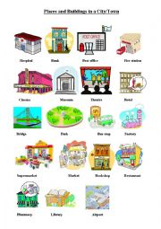 public places in a city esl worksheet by dasha86. Black Bedroom Furniture Sets. Home Design Ideas