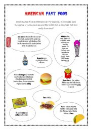 English Worksheet: American Fast Food