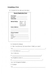 Completing a registration form and a dialogue