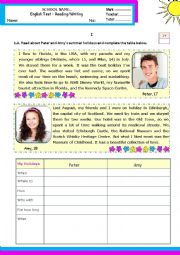 What did you do last  summer holidays? - Reading/writing test for levels A1+ or A2-