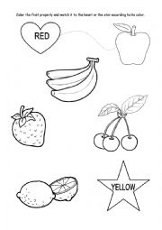 English Worksheet: Colours - red and yellow KINDERGARTEN