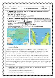 English Worksheet: First form Holidays and tourism