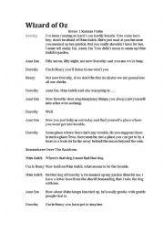 English Worksheet: Wizard of oz abridged script