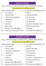 English Worksheet: Question words  exercise! (Who, what, when, where, why, which, how, whose)