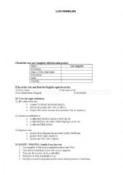 English Worksheet: LOS ANGELES
