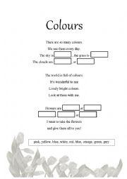English Worksheet: Colours Poem Activity Sheet