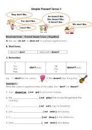 English Worksheet: Grammar- Simple Present Tense