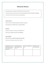 English Worksheet: Historical Heroes- Webquest