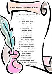 English Worksheet: about me